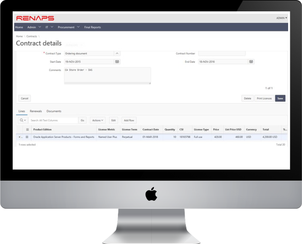 By capturing all of your Oracle® contracts in a single place, ROCS can help you with support renewals, migrating legacy metrics, decommissioning unused licenses and other money-saving approaches.